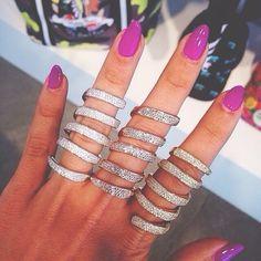 Image via We Heart It https://weheartit.com/entry/139726389 #chic #diamonds #longnails #diamondrings #stackablerings #hotpinknailpolish