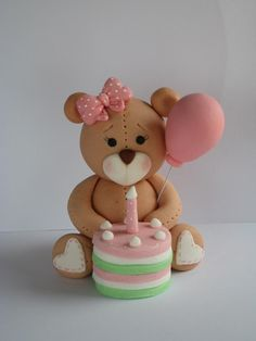 Figurice Za Torte - Teddy bear with a birthday cake