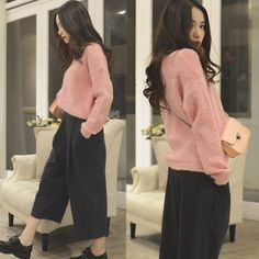 Larmoni Retro Crop Wide Leg Pants, Larmoni Oversized Soft Sweater