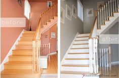 Ideas For Stairs Painted White Staircase Makeover Stairs Painted White, Painted Stair Risers, White Staircase, Wood Staircase, Staircase Remodel, Staircase Design, Stairs White And Wood, White Banister, Bannister