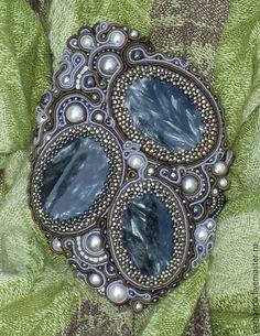 Купить Сутажные украшения держатель для шарфа с серафинитом (клинохлор) - серый…