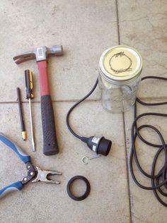 DIY Lighting: How to Build Mason Jar Lights- (good instructions! Diy Mason Jar Lights, Mason Jar Chandelier, Mason Jar Lighting, Mason Jar Crafts, Mason Jar Diy, Jar Lamp, Chandelier Lighting, Cute Crafts, Crafts To Do