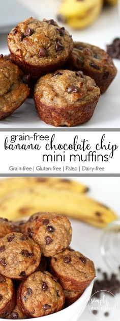 Get ready to fill your home with a mouthwatering aroma and better yet, sink your teeth into the most delicious grain-free Banana Chocolate Chip Mini Muffins | Grain-free | Gluten-free | Paleo | Dairy-free | simplynourishedre...