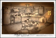 Concept Sketches for Death Walk the Streets, Kitchen set by Gregory Hill Design