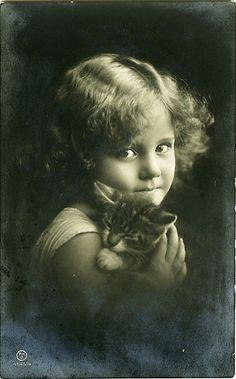 Vintage Postcard ~ Hanni with cat