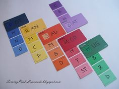 "Nicer version of paint chips- slide to make a word. ""We make our beginning blends blue, our endings green, our vowels yellow and random consonants red and purple.  This makes it easy for me to find what I am looking for without a whole lot of digging."""