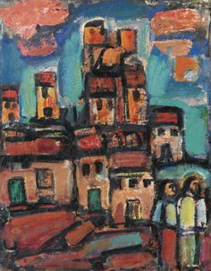 Georges Rouault - Vieux Faubourg, 1938, oil on paper laid down on canvas