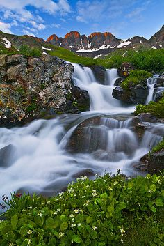 A small waterfall in American Basin of the San Juan Mountains, Colorado. View on Black To purchase prints or view my full image collection, check out my Explore The Light Photography website. Beautiful Waterfalls, Beautiful Landscapes, Beautiful World, Beautiful Places, Photography Website, Light Photography, Travel Photography, Wedding Photography, San Juan Mountains