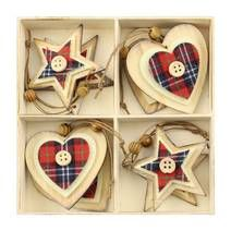 Set of 8 Wooden Tree Decorations