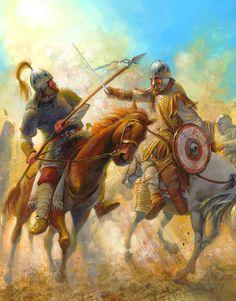 Combate entre ostrogodo y bizantino, cortesía de Radu Oltean. Más en www.elgrancapitan.org