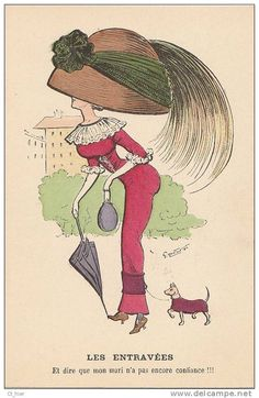 Antique postcard, lady with big hat and tiny dog!