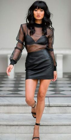 glossy #mini #leather skirt #blouse #bralette #outfit - https://www.luxury.guugles.com/glossy-mini-leather-skirt-blouse-bralette-outfit/