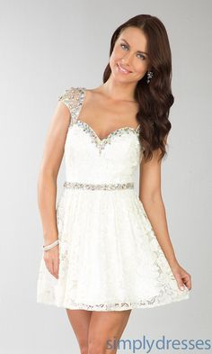 Short Lace Dress, Cap Sleeve Lace Cocktail Dress - SimplyDresses