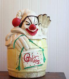 Mccoy Cookie Jar, Clown Cookie Jar, Antique Cookie Jar, Vintage Cookie Jar, Clown in a Barrel, Creepy Clown, 1940s, mid century, retro kitc