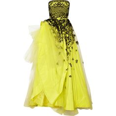 Oscar de la Renta Embroidered tulle and silk-faille gown ($4,080) ❤ liked on Polyvore featuring dresses, gowns, long dress, oscar de la renta, chartreuse, silk gown, long silk gown, yellow ball gown, long tulle dress and yellow dress
