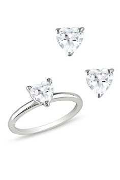 Sterling Silver Heart-Shaped White Topaz Ring & Earrings Set - perfect Valentine's gift for little girls / daughters