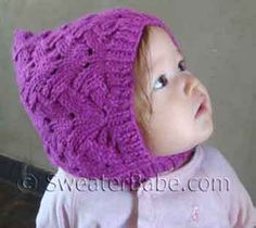 Fancy Stitch Baby or Child Pixie Hat PDF Knitting Pattern from SweaterBabe.com