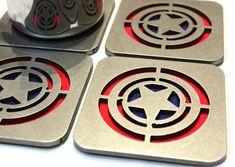 Captain America Steel Coasters Set of 4 by ApocalypseFab on Etsy, $53.00