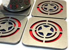 Captain America Steel Coasters Set of 4