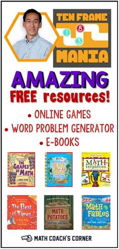 Greg Tang's website is a virtual treasure trove! Free computer games and math games on worksheets by Greg Tang! Third Grade Math, Second Grade, Fourth Grade, Math Coach, Teachers Toolbox, Singapore Math, Math Intervention, Math Books, Math Practices