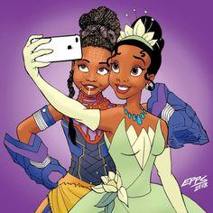 Welcome the newest Disney Princess we've all been waiting for, Princess Shuri! This pic of her with Disney's Black Princess Tiana speaks volumes & shows that representation matters Art Black Love, Black Girl Art, My Black Is Beautiful, Black Girls Rock, Black Girl Magic, Art Girl, African American Art, African Art, Marvel Dc