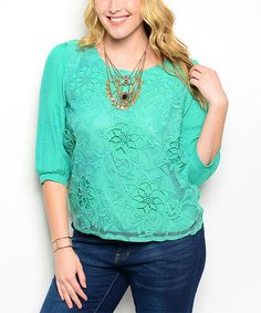 This Jade Floral Lace Three-Quarter Sleeve Top - Plus is perfect! #zulilyfinds
