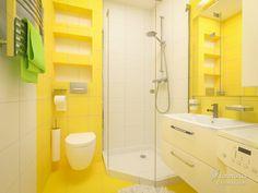 Kids Basement, Apartment Checklist, Memphis Design, Shades Of Yellow, Bathroom Interior Design, House Design, Toilets, Storage, Interiors