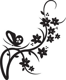 free clip art black and white flowers flower flourishes clipart rh pinterest com black and white flower clipart black and white flower clipart