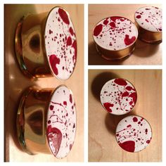 I Love DEXTER Plugs  Blood Splatter  Double Flare by PeachTreats, $24.00