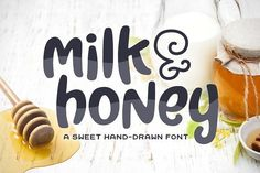 A sweet and simple hand-drawn font. Its bold and curvy characters can add a bunch of personality to any project. Milk & Honey can be used for personal or commercial projects, in logos, on items for purchase with unlimited sales, Font Design, Design Typography, Typography Fonts, Graphic Design, Script Fonts, Sans Serif, Create Font, Texture Web, Hand Drawn Fonts