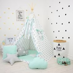 Teepee Set Kids Play Tent Tipi Kid Play Teepee Child Teepee Wigwam Zelt Tente - Mint Breeze by MamaPotrafi on Etsy