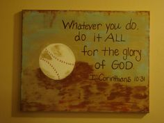 Distressed Baseball Canvas Painting by PaintingsbyChristyM on Etsy, $55.00