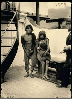 Selknam natives being transported to Europe to be put on display as animals in human zoos, 1899