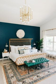 Boho Master Bedroom Ideas That You Need To See! – Nikola Kosterman Boho Master Bedroom Ideas That You Need To See! – Nikola Kosterman,Modern Boho Decor Boho Master Bedroom Ideas That You Need To. Navy Bedroom Walls, Bedroom Colors, Home Decor Bedroom, Bedroom Furniture, Bedroom Retreat, Cozy Bedroom, Furniture Ideas, White Bedroom, Scandinavian Bedroom
