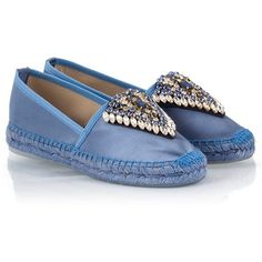 Ras - Blue satin crystal embellished and textile trimmed espadrilles (1.742.245 IDR) ❤ liked on Polyvore featuring shoes, sandals, blue, satin sandals, blue slip on shoes, blue satin shoes, pull on shoes and slip-on shoes