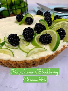 This wonderfully easy No-Bake Key Lime Blackberry Cream Pie is incredibly light and refreshing. It's not too heavy and not too sweet, with the perfect tartness of key lime pie and the subtle fruitiness of blackberries layered within the filling.  When you're in the mood for a key lime pie, but want something just a bit more extraordinary, this is the pie for you!  #mysweettoothbakery #easybaking #tastethisnext #eatprettythings #summerbaking #summercooking #myopenkitchen #keylimepie #creampie Key Lime Filling, Key Lime Pie, Mini Trifle, Homemade Graham Cracker Crust, High Gloss Kitchen, Blackberry Pie, Eat Pretty, Soften Cream Cheese, Vegan
