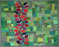"https://flic.kr/p/g2tfBP | Up the Wall | A variation of Leaves and Vine by Cheryl Arkison in her book Sunday Morning Quilts with Amanda Jean Nyburg.  37""x 30"""