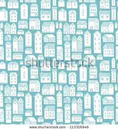 Seamless vector pattern with various cartoon houses. - stock vector