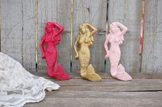 Pink and gold cast iron mermaid hooks
