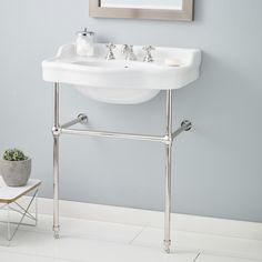 "28"" Console Bathroom Sink with Overflow"