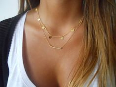 Gold Layered Necklace Set Coins and Tube Necklace Set