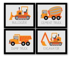 Construction Art, Set of 4, Dump Truck, Excavator, Bulldozer, Cement Truck, Boys Room, Kids Wall Art, Grey and Orange, INSTANT DOWNLOAD