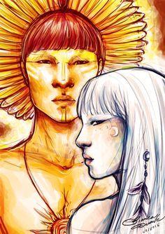 Jaci e Guaraci, a Lua e o Sol ;) Os gêmeos são os primeiros deuses criados por Tupã, o deus dos raios, e regem os seres vivos. Espero que gostem! x----------X Guaraci and Jaci, the sun and the moon ;) These twins were the first gods created by Tupã, the god of thunder, and they take care of the living things as well. Hope you guys like it!