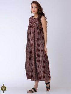 Black-Madder Bagh-printed Cotton Dress by Jaypore