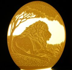 Carved and Sculpted Ostrich Egg Shell Lion King of the by 1eggman, $200.00