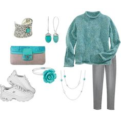 Plus Size, Turquoise, black and grey outfit - I would not wear the tennis shoes.