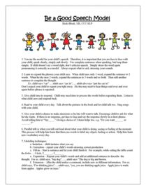 Be a Good Speech Model. Handout for parents and teachers.Especially helpful to families after speech-language evaluation. Can be downloaded at www.preschoolspeechie.com. Ricki's Printables. One of many TPT FREEBIES