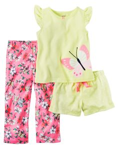 Baby Girl 3-Piece Jersey PJs  In coordinating prints, this 3-piece set includes a top, pants and shorts that can be mixed and matched for a variety of comfy bedtime options! Chemically treated? No way! Carter's polyester is safe and flame resistant... Phew!