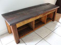 Handmade Bench, Shelves, Hidden Storage, Reclaimed Barn Wood - The Summery Umbrella