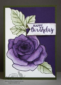 =A Crafty Cat: Stampin' Up! Rose Garden & Rose Wonder water coloured =A Crafty Cat: Stampin' Birthday Cards For Women, Happy Birthday Cards, How To Make Scrapbook, Scrapbook Cards, Making Greeting Cards, Greeting Cards Handmade, Stamping Up Cards, Mothers Day Cards, Watercolor Cards